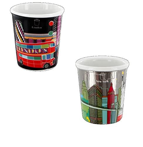 Pylones - Juego de 2 tazas de café espresso de porcelana, diseño de Londres y Nueva York