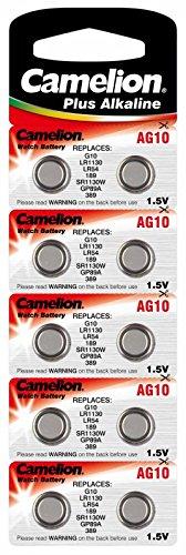 12 x Knopfbatterien für Uhren, Hörgeräte, Tireflys AG 10, LR1130 im Blister (ES KOMMEN 12x Batterien, nicht 10 wie auf dem Bild zu sehen!)