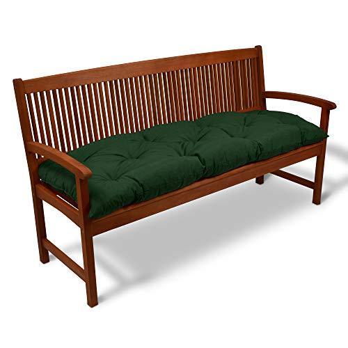 Beautissu Cojines para Bancos Flair BK 150x50 cm Cómodo Acolchado Banco de jardín/Columpio Hollywood Verde Oscuro - más Colores y tamaños a Elegir