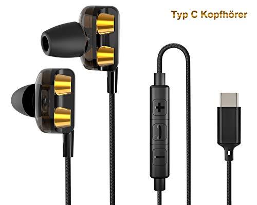 BEYEAH USB C kopfhörer In Ear (Breit kompatible Version), Ear Ohrhörer Metallisches Stereo Headset Earphones mit Ohrstöpseln und Mikrofon für Huawei & Google & HTC & Moto & Sony & iPad Pro