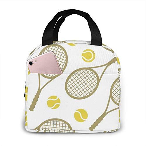Hdadwy Raquetas de tenis Pelotas Bolsa de almuerzo Bolsa de almuerzo reutilizable Bolsa de viaje Bento con cordón de picnic, bolsillo frontal