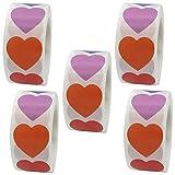 Rojas Pegatinas Para el Corazón,2500pcs Pegatinas Corazones Rojos Papel Etiquetas Adhesivas Stickers Decoración Cajas...