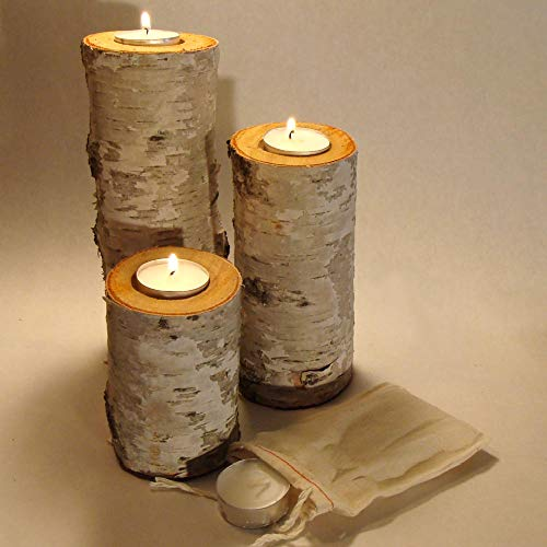 Real Birch Log Tea-Light Candleholder Set (3) (Candles Included) Clear Sealed Tops to Protect The Wood & Felt Covered Bottom to Protect Your Furniture.