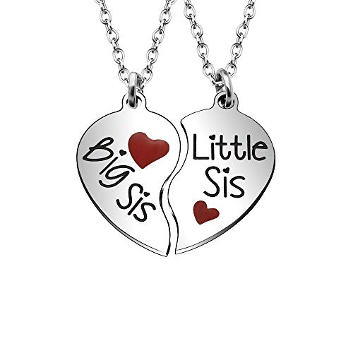 Angelra 2 Sister Necklace Adjustable'Big Sister Little Sister' Stainless Steel Pendant from Family