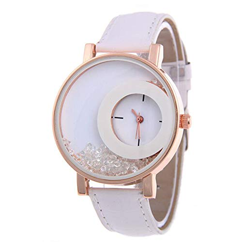 Fitbitt Frau Leder Quicksand Strass Quarz Armband Armbanduhr Uhr, rundes Zifferblatt Gehäuse Edelstahl Band Uhren,White