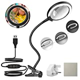 3X Daylight LED Magnifying Lamp, Clamp Magnifying Glass with 6 Adjustable Light Setting for Reading, Seniors, Hobbies, Craft