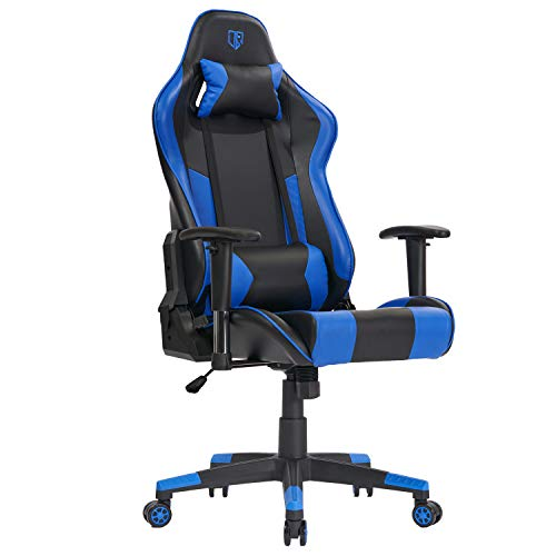 Outroad Gaming Chair Office Computer Desk Chair Ergonomic Backrest and Seat Height Adjustment Recliner Swivel Rocker with Headrest and Lumbar Pillow E-Sports Chair, Blue