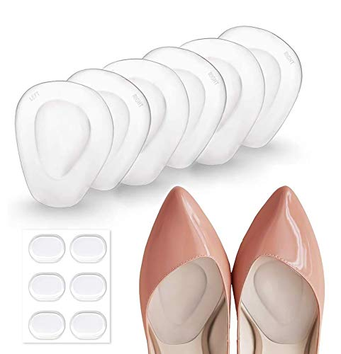3 Pairs Ball of Foot Cushions Adhere to Shoes, Metatarsal Pads with Water Drop Shape 4D Design, Professional Reusable Soft Insole, One Size Fits Shoe Inserts, by Mildsun