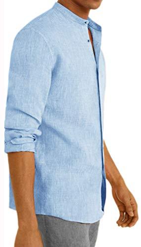 Camicia Uomo in Lino Coreana Slim Fit Manica Lunga (Celeste, S)