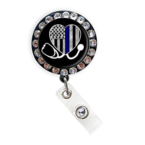 Thin Blue Line Nurse Badge Reel Retractable ID Badge Holder (Blue Line Heart Stethoscope Rhinestone_Black)