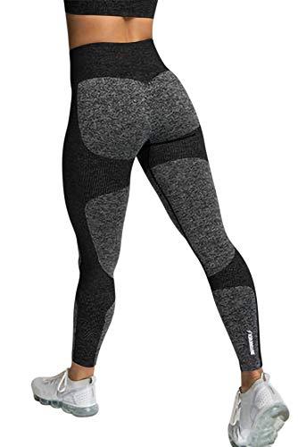 YONIER Mujer Fitness Mallas Push Up Pantalones Deportivos Cintura Alta Elásticos Leggings Push up Tummy Control Pantalones Deportivos para Yoga Running Gym
