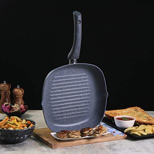 Wonderchef 60016700 Graniet niet-stick inductiepan, maat 24cm voor het grillen van groenten en vlees, aluminium