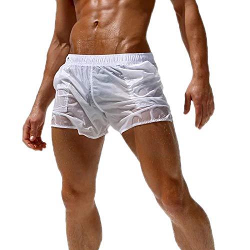 WSLCN Herren Sexy Shorts Transparent Sommershorts Dünn Leicht Strand Beachshorts Bademode Weiß S-Taille 76-86cm