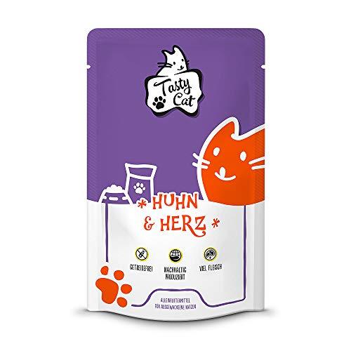 Tasty Cat Nassfutter für Katzen Huhn & Herz 12 x 125g.   getreidefrei   zuckerfrei