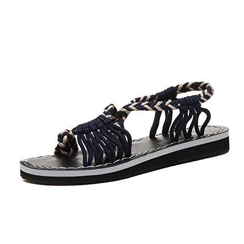FAYHRH Sandalias de Talón Abierto Mujer,Sandalias Planas de Verano, Zapatos de Playa para Mujer a Juego de Color-Beige_43