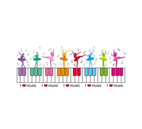 QTXINGMU Piano toetsenbord muur Stickers Kleurrijke muurschildering voor kinderen kamer kleuterschool muziek klaslokaal decoratie