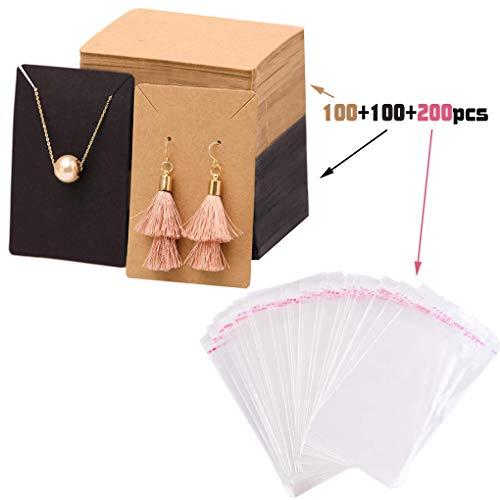 Rolin Roly 200 stuks papieren sieraden oorring display kaarten met 200 stuks OPP cellofaan zakje kaart oorbellen grafische sieraden verpakking kaarten