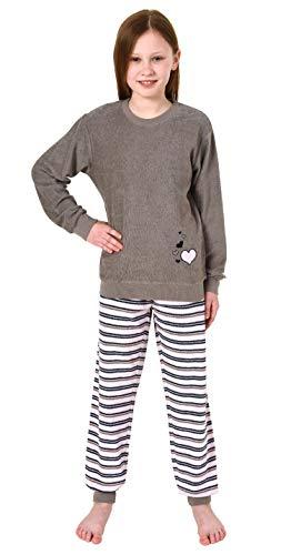 Mädchen Frottee Pyjama Langarm mit Bündchen Schlafanzug mit Herz - Motiv - 291 401 13 570, Farbe:grau, Größe:122/128