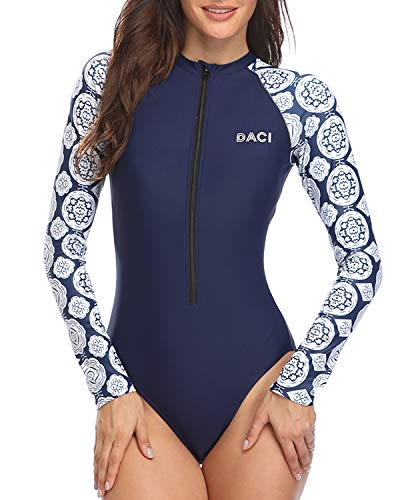 Daci Women Blue-2 Rash Guard Long Sleeve One Piece Swimsuit Zipper Surfing Bathing Suit UPF 50 S