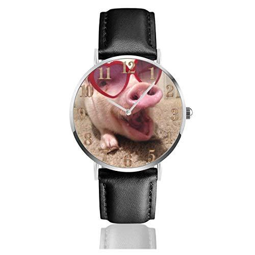 Pet Pig Heat Sonnenbrille Clo Uhren PU Leder Armbanduhr Life Silence Quarzuhr mit silbernem Edelstahl