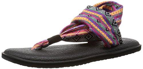 Sanuk Women's Yoga Sling 2 Prints Flip Flop, Magenta/Multi Tribal Stripe, 10 M US