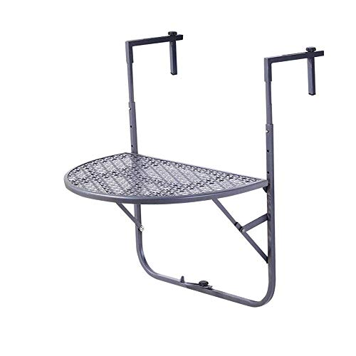 Furniture Decoration Best Choice Products Portable Folding Hanging Compact Balcony Railing Table Serving Side Stand for Patio Deck Black