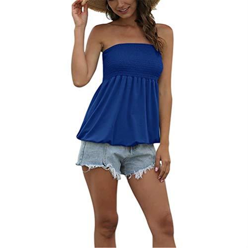 LYAZFC Top de Camiseta de Tubo sin Tirantes Sexy de Color sólido de Verano para Mujer