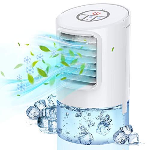 Nuaer Enfriador de Aire, Mini Aire Acondicionado Personal, Enfriador evaporativo portátil 3 en 1, Ventilador de Escritorio con Temporizador de 2 h / 4 h para Oficina, Dormitorio y hogar