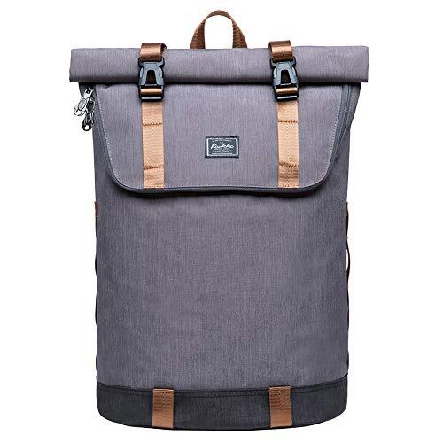KAUKKO Rucksack Roll Top Backpack Lässiger Vintage Tagesrucksack Herren Laptop Schulrucksack fit 14