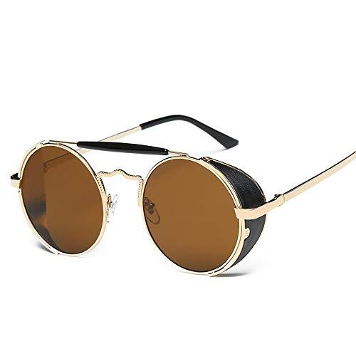 hqpaper Gafas de sol retro europeas y americanas Moda mujer Gafas de sol Hombres de moda Gafas de sol redondas Marco de metal-Marco dorado Hoja marrón
