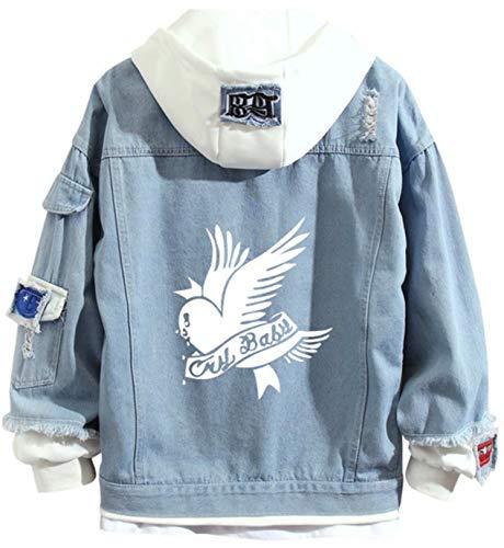 Lil Peep Casual Vintage Jean Jacket Unisex Light Wash Faded Ripped Music Fans Denim Coat Mens Spotlight Street Hip Pop Style Denim Jacket