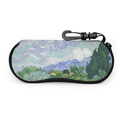 Tcerlcir Estuche para anteojos Campo de trigo con cipreses de Vincent Van Gogh Estuche para anteojos moderno Estuche para anteojos suave Estuche para anteojos suave, ligero, portátil, suave, 17x8cm