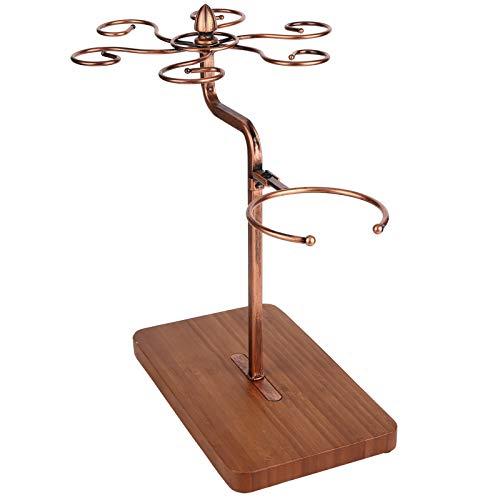 Soporte de vidrio, hierro y materiales de madera, soporte para copas de vino, organizador de copas de vino, para barras de hogares(Bronze)
