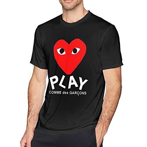 SGDIKL Comme Des Garcons Play Men Short Sleeves Shirts Comfortable Sport Shirt Black