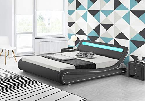 Fournier Décoration CW7016BN Soon LED-bed/lattenbodem, kunstleer, 160 x 200 cm 228x181x68 cm Gris Liseré Blanc