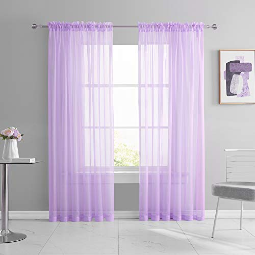 KEQIAOSUOCAI 2 Pack Rod Pocket Kids Room Sheer Light Purple Curtains Lilac Lavender Transparent Sheer Voile Panels for Bedroom Living Room Wedding Party Backdrop Each is 52W x 84L