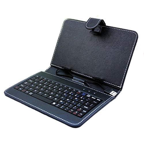 CandyTT 7 Pulgadas 7.85 Pulgadas 8 Pulgadas 9 Pulgadas 9.7 Pulgadas 10.1 Pulgadas Funda de Cuero con Teclado Universal Funda para Tableta (black8in)