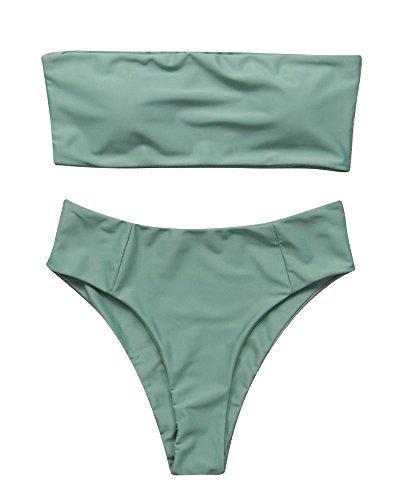 OMKAGI Women's 2 Pieces Bandeau Bikini Swimsuits Off Shoulder High Waist Bathing Suit High Cut(Medium,Army Green)