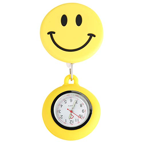 Taschenuhr für Krankenschwester, Silikon, groß, dekorativ, lächelndes Gesicht, einziehbares Seil mit Edelstahl-Clip, Taschenuhren für Damen, leuchtende Funktion, Anhänger für Ärzte