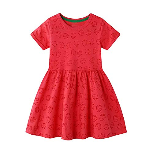LZH ベビードレス 子供服 ガールズ ドレス 子供 ドレス 花柄 ワンピース スカート ビーチ ワンピース 半袖 かわいい チュニック ふんわり コットン カジュアル ドレス