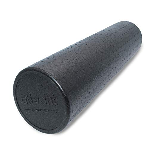 ATIVAFIT rodillo de espuma para ejercicio, colores moteados, rodillo muscular extra firme de alta densidad para terapia física, masaje muscular de tejido profundo, color negro, tamaño 15*90