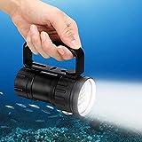 Linterna de Buceo, Linterna de Buceo LED XM-L2 Súper Brillante de 18000 Lúmenes, IPX8 Impermeable, 7 Modos, 3 Fuentes de Luz, 120 ° Ángulo de Haz, Luz de Relleno de Video Subacuático, Exteriores