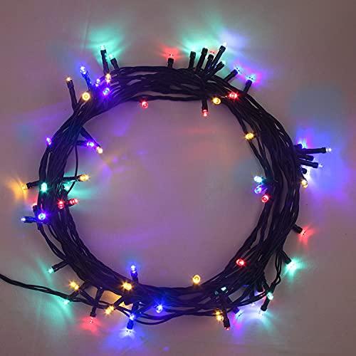 ANSIO Cadena Luces de Navidad 100 LED Multicolor Interior/Exterior Luces de árbol luces de hadas alimentadas red 10 M de longitud de luz con Cable verde