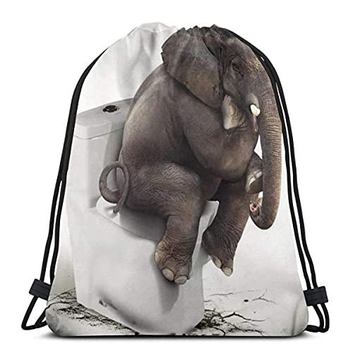 Lmtt Bolsas con cordón Elefante sentado en el inodoro Bolsas con cordón de almacenamiento Gimnasio para hombres Resistente al agua Talla única