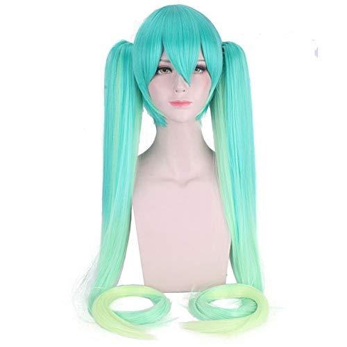 Anime de alta calidad Vocaloid Hatsune Miku Peluca sintética Juego de disfraces Jugar Pelucas Cosplay miku Pelucas de cabello azul ondulado largo + gorro de peluca Un tamaño CY120-25