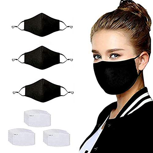 3 Pack Unisex Reusable Cotton Adjustable Protective Face Protector 4 Ply, With 15Pcs Replacement Filters (3PC+15Filter)