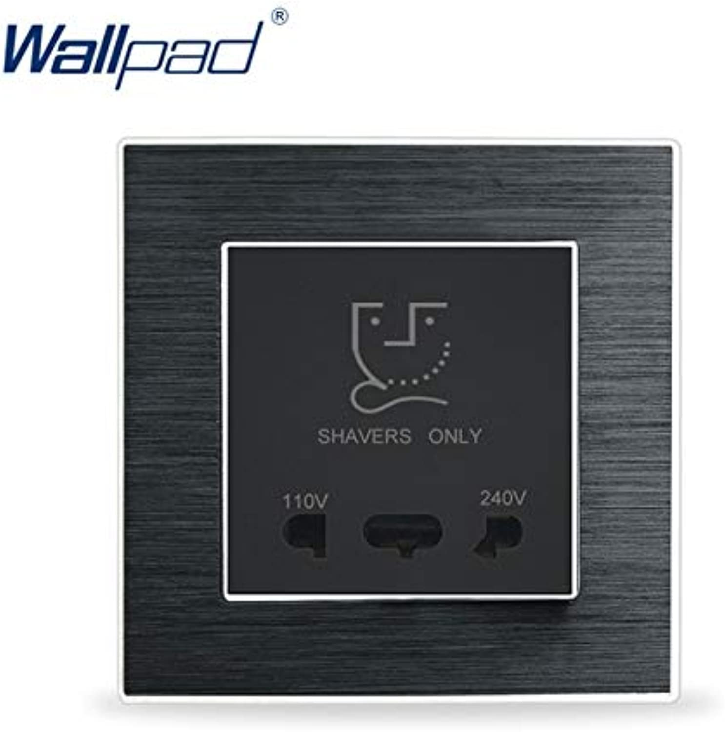 Shaver Socket Wallpad Luxury Satin Metal Panel Electric Wall Electrical Outlets for Home(color  Black)
