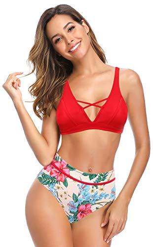 SHEKINI Mujer V Cuello Cutout Bikini Top Bañador de Dos Piezas Correa de Hombro Ajustable Retro Impreso Cintura Alta Fondos de Bikini Bikini de Dos Piezas Playa (M, Rojo)