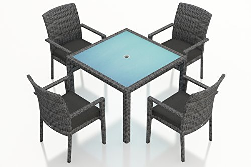 Harmonia Living District 5 Piece Square Patio Dining Set in Slate