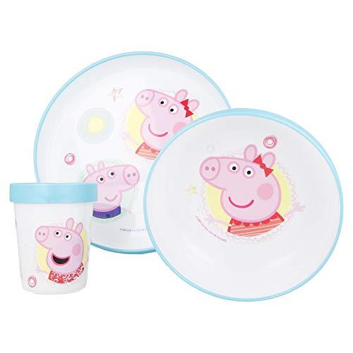 Vajilla infantil antideslizante, apta para microondas, juego de desayuno de 3 piezas, de Anna Elsa, para camping, cumpleaños, niños y niñas, a partir de 6 meses, sin BPA (Peppa Pig.